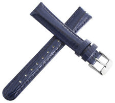 Invicta Womens 16mm Shiny Dark Blue Leather Watch Band Strap Silver Pin Buckle