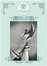 Vintage 1940s crochet pattern-how to make elegant lace crochet gloves
