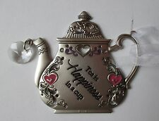 s Tea is happiness in a cup TEAPOT ORNAMENT Ganz Car Charm