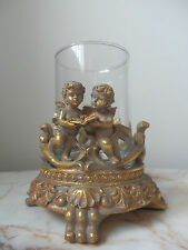 French Style Aged Gold Gilt Cherub Candle Holder
