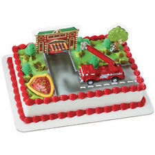 Fire Truck Cake Kit Topper Decorating 4 pieces - truck, tree, shield, house