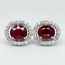 8.10 Carat Natural Top Red Ruby Earring With White Topaz in 925 Silver