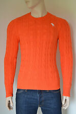 NEW Abercrombie & Fitch Wolf Pond Cable Knit Sweater Jumper Orange L RRP £98