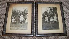 ~ANTIQUE PHOTO & 10x13 FRAME set, lot, baby, children, carriage, camera, rocker
