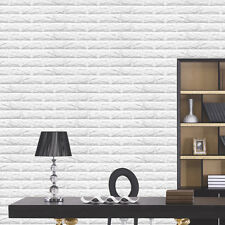 DIY White 3D Brick Soft Foam Thicken Wall Sticker Panels Wallpaper Decal 60x60cm