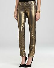 NWT Kate Spade Broome Street Jeans METALLIC GOLD SKINNY Women's Size 25x28