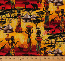 Cotton African Village Sunset Animals Women Fabric Print by the Yard D467.19