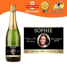 PERSONALISED CHAMPAGNE PROSECCO PHOTO BOTLE LABEL BIRTHDAY ANY OCCASION GIFT