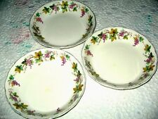 3 Cream Petal Grindley England Bowls Decorated with Grape Vines & Gold Rims