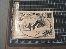 SNOWY POSTCARD WITH SNOWY COTTAGE SCENE  BACKGROUND W/M RUBBER STAMP