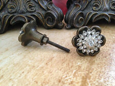 BRASS FLORAL CLEAR CRYSTAL STONES CABINET DRAWER FURNITURE PULL KNOBS.