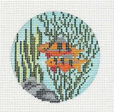"Needle Crossings 2 Tropical Fish 3"" Ornament handpainted Needlepoint Canvas"