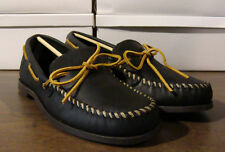 MINNETONKA CAMP LEATHER MOCCASINS BLACK MENS 12 WIDE