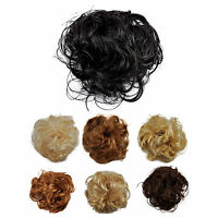 Synthetic Elastic Hair Scrunchie Piece Extensions Ponytail Curly Brown Blonde