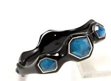 IPPOLITA 925 STERLING SILVER BLACK RESIN w/ 6 BLUE STONES QUARTZ BANGLE BRACELET