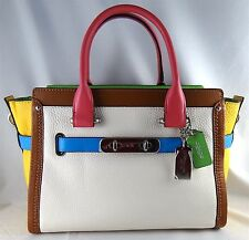 COACH SWAGGER 27 COLORBLOCK CHALK LEATHER SATCHEL CROSSBODY BAG 37693