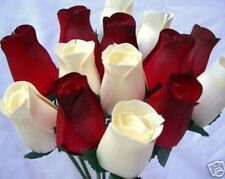 30 CREAM & ROMANTIC RED WOODEN ROSES WHOLESALE GIFT MODERN HOME WEDDING FLOWERS