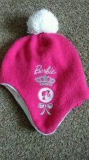Childrens rosa Barbie Lanudo Sombrero Con Pom Pom en la parte superior
