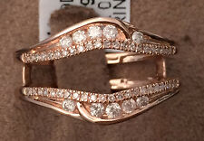 Solitaire Enhancer Round Diamonds Ring Guard Wrap 14k Rose Gold Wedding Band