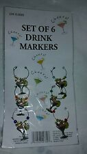 Drink Markers Set of 6 with Beads and Champagne Glass Charm