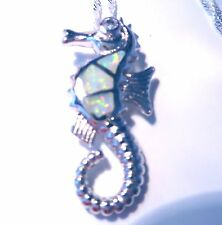 "STUNNING WHITE FIRE OPAL SEAHORSE PENDANT + 18"" SILVER CHAIN."