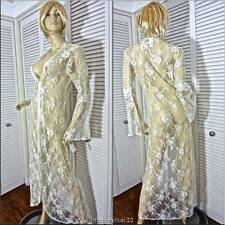 NWT JONQUIL by DIANE SAMANDI ROBE MEDIUM SHEER LACE BELLINI LONG NYLON WRAP