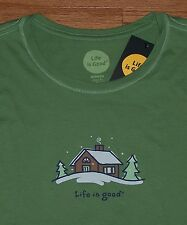 ** Life Is Good LARGE Womens SNOW CABIN Long Sleeve Crew Tee GREEN Mountains **