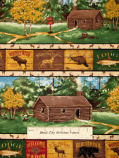 Summer Lodge Moose Camp Camping Lodge Cabin Rustic Stripe Cotton Fabric 28""
