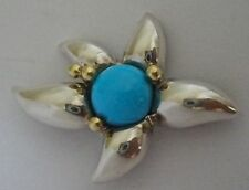 VINTAGE TIFFANY & CO STERLING & 18K STARFISH STAR PIN TURQUOISE CENTER STONE