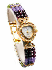 INFINITY WOMENS' SEMI PRECIOUS STONES GOLD PLATED FINISH HEART  WATCH BRACELET