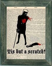 Mony Python Holy Grail tis but a scrath art print on vintage dictionary page