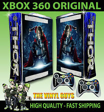 XBOX 360 ORIGINAL THOR GOD OF THUNDER AVENGERS STICKER SKIN & 2 PAD SKINS