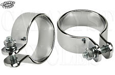 """Chrome 1-3/4"""" Exhaust Clamps Motorcycle Exhaust Clamp Set Muffler Clamp 1.75"""""""