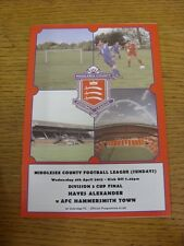 04/04/2012 Middlesex County League Sunday Division 3 Cup Final: Hayes Alexander