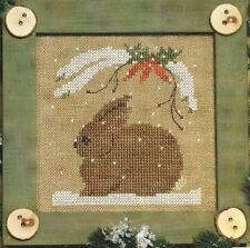 BUNNY-Bitty Buttons #4--Rabbit--Winter-Carrots-Snow-Counted Cross Stitch Pattern
