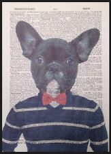 French Bulldog Print Vintage Dictionary Page Wall Art Picture Frenchie Hipster