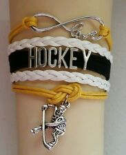 HOCKEY-YELLOW/WHITE/BLACK LEATHER CHARM BRACELET SILVER ADJUSTABLE-SPORTS #120