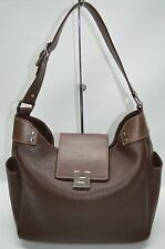 Lambertson Truex Brown Pebble Leather Small Buckle Flap Hobo Shoulder Purse