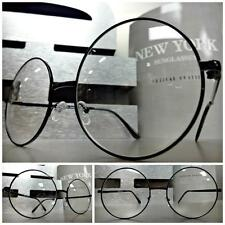 HUGE LARGE OVERSIZE WALDO Style Clear Lens EYE GLASSES Round Black Fashion Frame