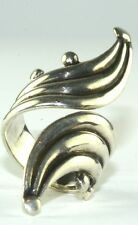 VTG 1960'S BALDERAS MEXICAN STERLING SILVER TALL BYPASS RING SIZE 6