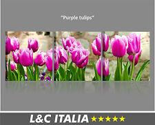 Purple Tulips QUADRO MODERNO STAMPA QUADRI TELA ARREDO CASA TULIPANI FIORI