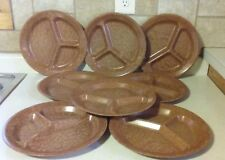 "Kys-Ite 231 Melmac Melamine 11"" Divided Plates Dishes Camping Brown 8 Made USA"