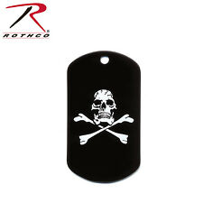 New Rothco 8594 Black Skull & Crossbones Dog Tag Jolly Roger Pirate Dog Tag