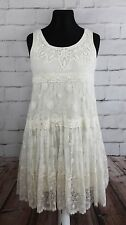 Lace dress XL + Noa Noa beads cream romantic boho sleeveless empire French Paris