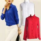New Fashion Women Long Sleeve Chiffon Loose Tops Button Down Shirt Casual Blouse