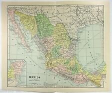 Original 1887 Map of Mexico by Phillips & Hunt