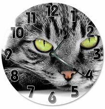"GREEN EYED CAT Clock - Large 10.5"" Wall Clock - 2097"