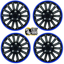 "Toyota Yaris 14"" Stylish Black Blue Rim Wheel Cover Hub Caps x4"