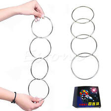4 Magic Chinese Linking Rings Set Magnetic Lock Kids Party Show Stage Trick Hot