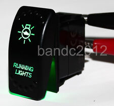 RUNNING LIGHTS 5P SPST ON/OFF Rocker Switch Green LED FOR CAR BOAT MARINE 4WD